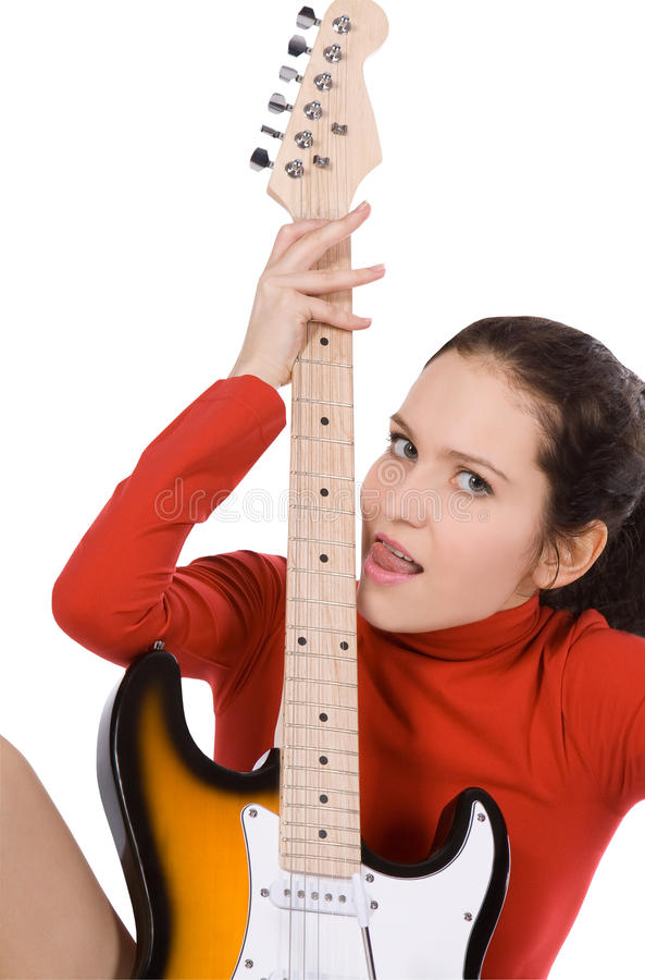 Download Female Posing With Guitar Over White Stock Photo - Image of beautiful, girl: 18970510