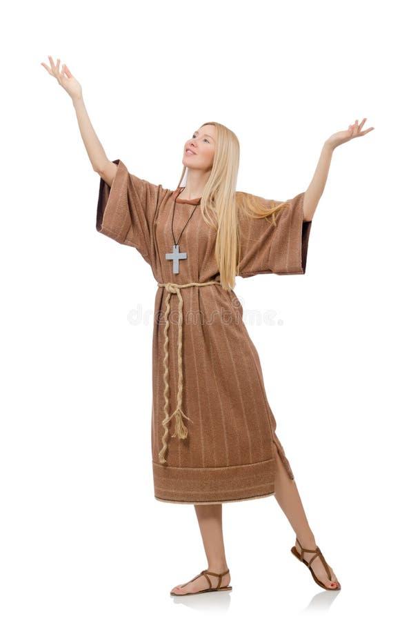 Female prayer isolated on the white royalty free stock photo