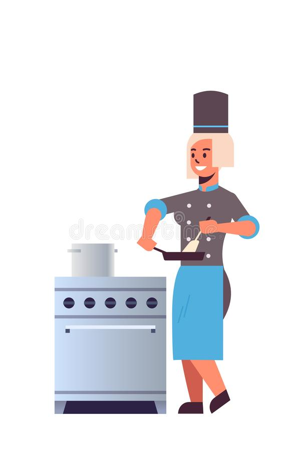 Female professional chef using frying pan stirring food woman restaurant kitchen worker in uniform standing near stove royalty free illustration