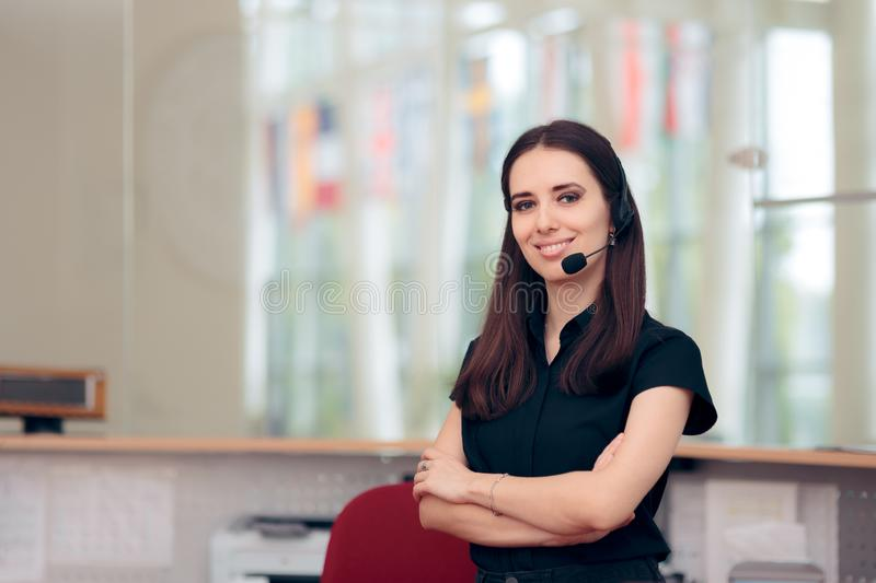 Call Center Customer Service Operator at Workplace royalty free stock images
