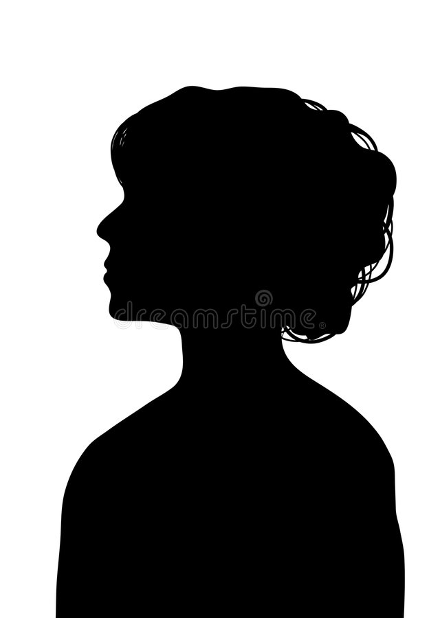 Female Profile 1. Side silhouette profile of young woman with elegant hairstyle stock illustration