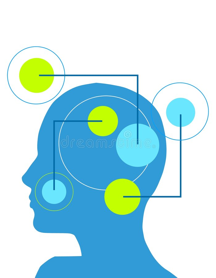 Female Psychology Head. An illustration featuring a head silhouettes divided by colours and with radial circles and lines in blue and green