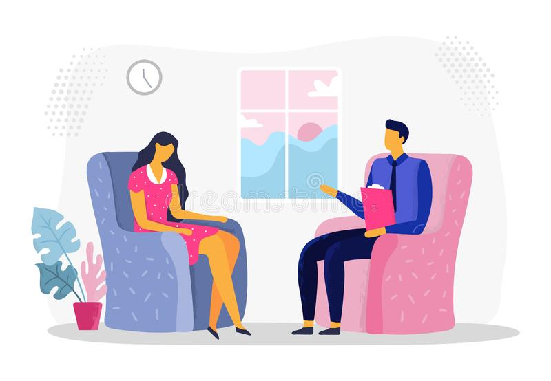 Female psychotherapy session. Woman in depression, psychiatry and psychological therapy. Psychologist consultation vector illustration