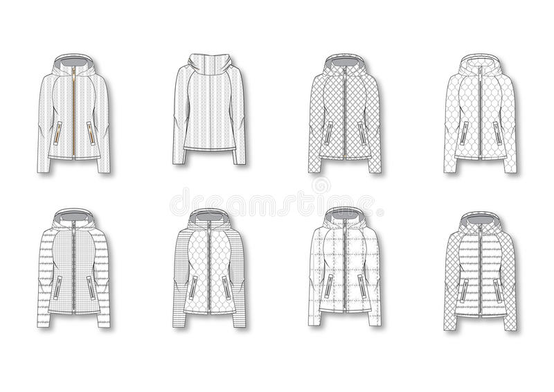 Female Quilted Winter jacket stock photography