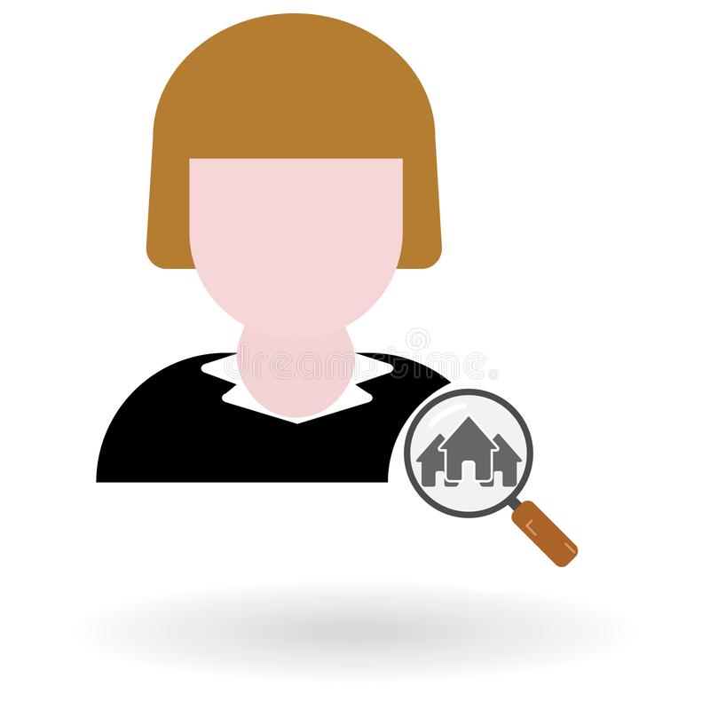 Female realtor flat icon with loupe and houses symbol stock illustration