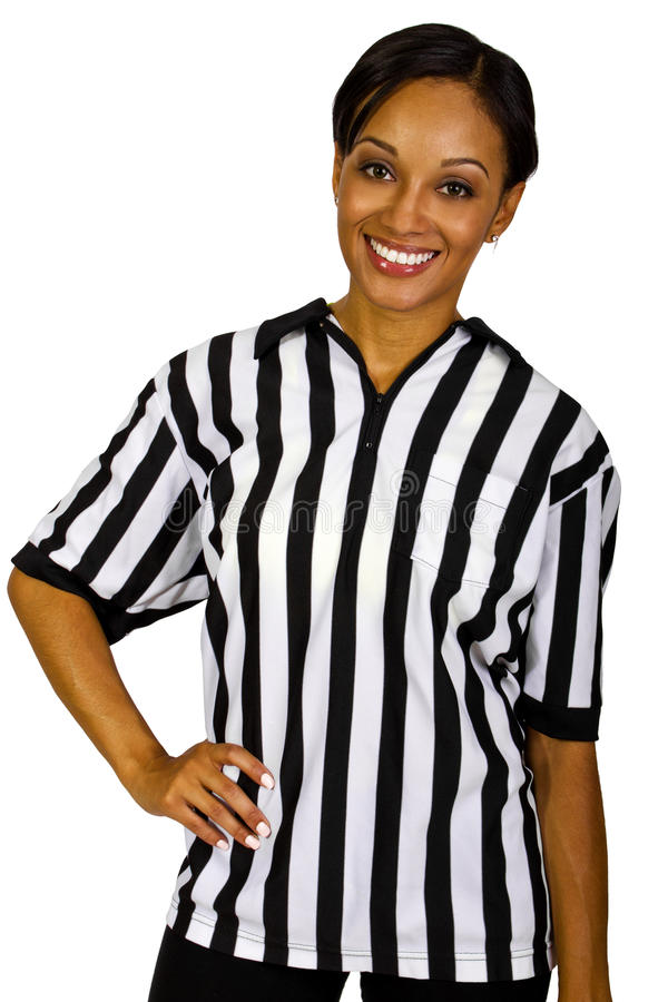 Female Referee. Young African American female referee in a professional uniform stock image