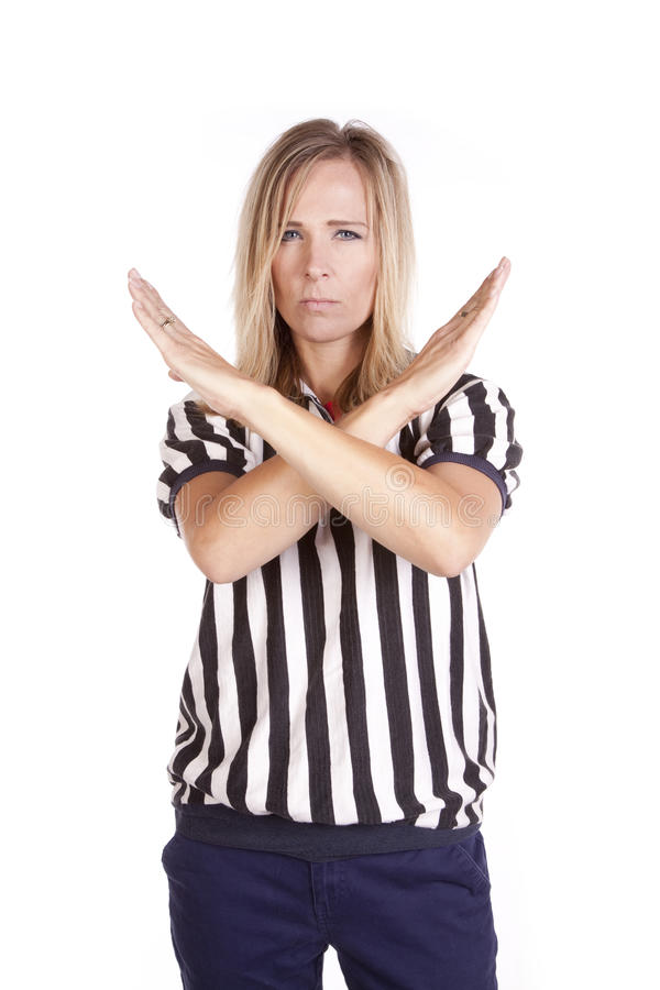 Female Referee Arms Crossed Royalty Free Stock Photography