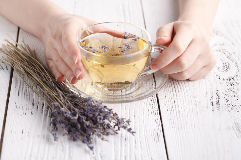 Female relax with cup of herbal tea royalty free stock photo