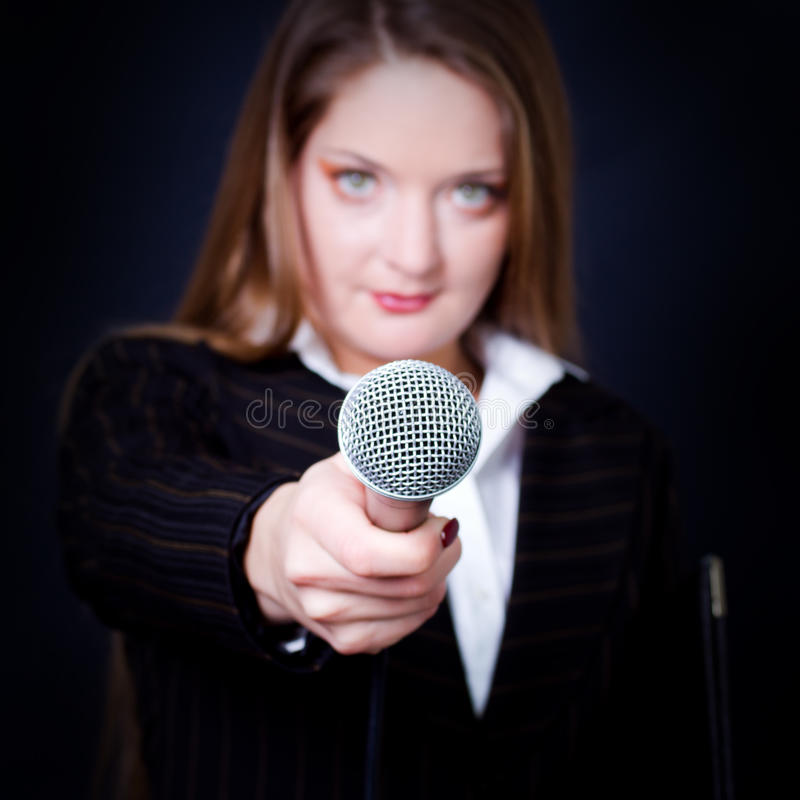 Female reporter royalty free stock photo