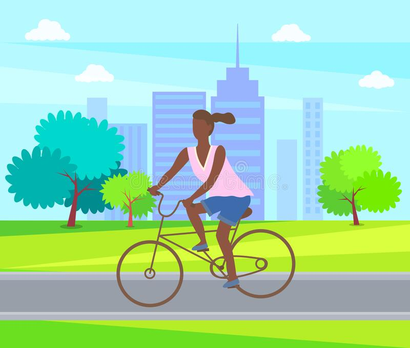 Female Ride on Cycle, Active Life. Woman Cycling. Female ride on cycle, active way of life. Woman cycling in park, afro-american lady riding on bike. Vector vector illustration
