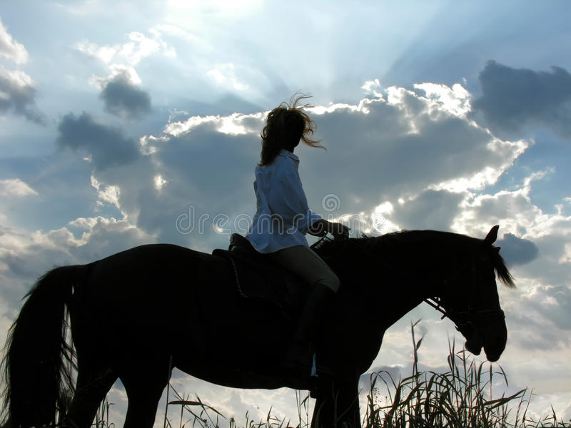 Female rider and tired horse in the evening. Silhouette of female rider and tired horse in the evening stock images