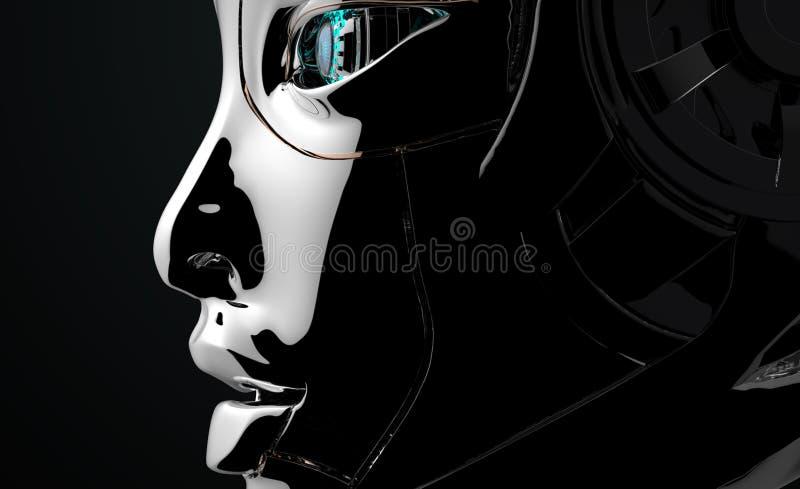Female Robot Face Futuristic design royalty free illustration