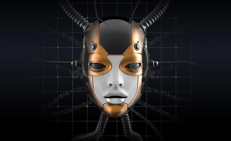 Female Robot Face Futuristic design stock illustration