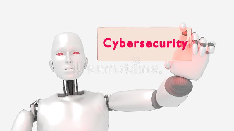 Female robot holding a glass sign with the words cybersecurity royalty free illustration