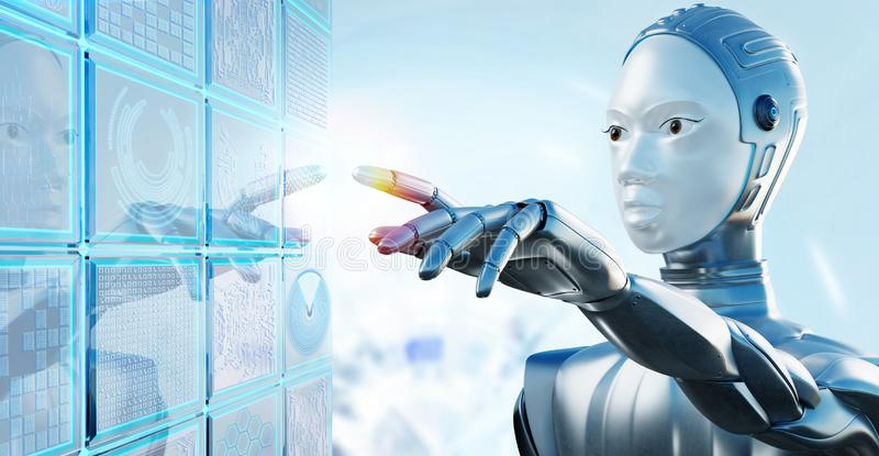 Female robot touching digital futuristic computer screen. Close up portrait of female robot with chrome helmet touching digital futuristic computer screen royalty free illustration