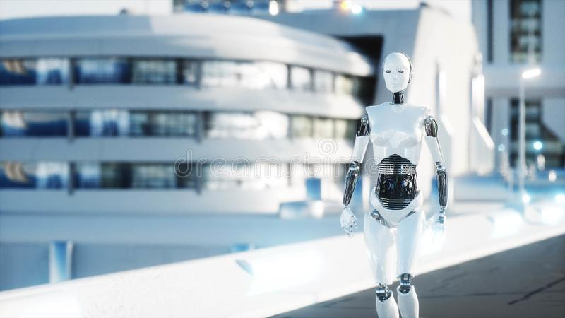 Female robot walking. Futuristic city, town. People and robots. 3d rendering. stock illustration