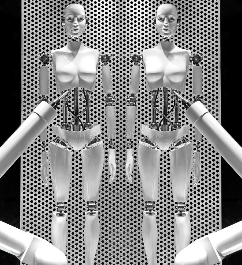 Female robotic mannequins stock images