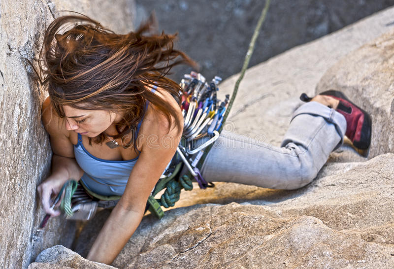 Download Female rock climber. stock image. Image of recreation - 22546855