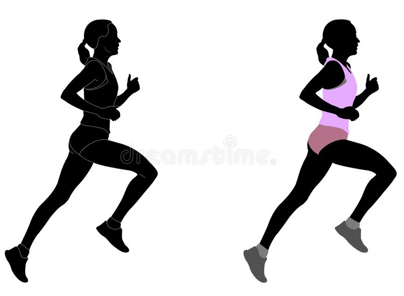 Female runner in color sportswear and silhouette with detailed outlines stock illustration