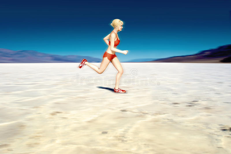 Female Runner in the Desert. 3D illustration of a female sport fitness runner running in a desert landscape outside stock illustration