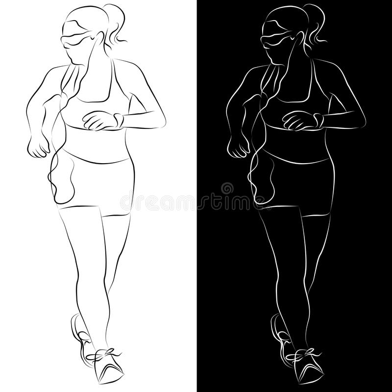 Download Female Runner Line Drawing stock vector. Image of contour - 19526530