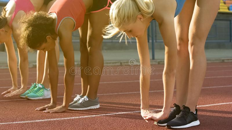 Female running team stretching and warming up, preparing for race, team spirit stock photo
