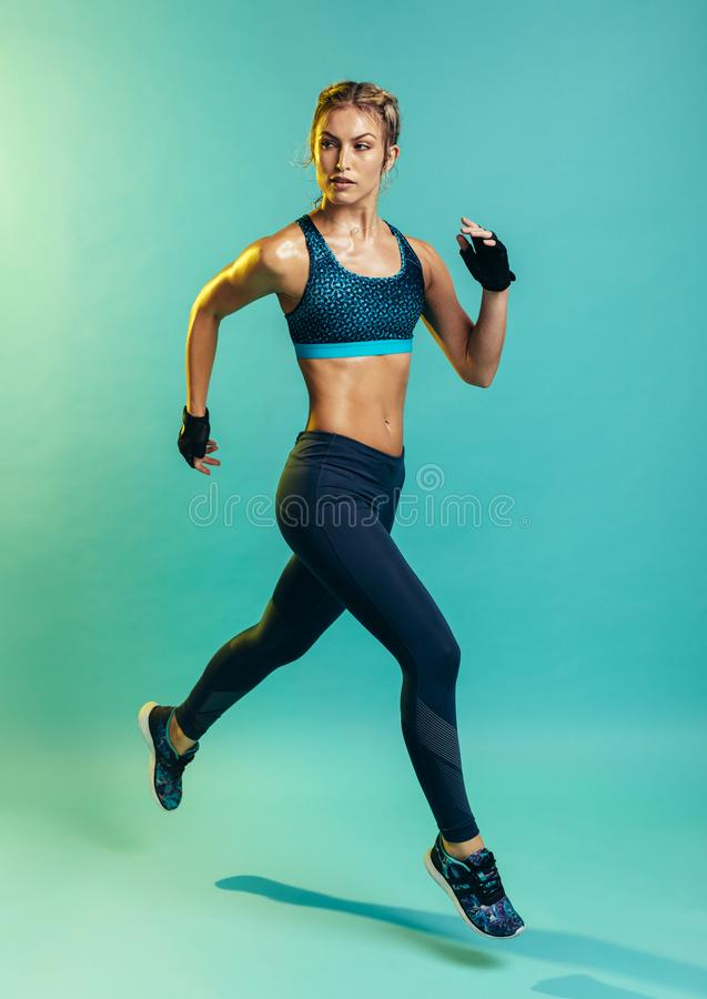 Female running training stock images