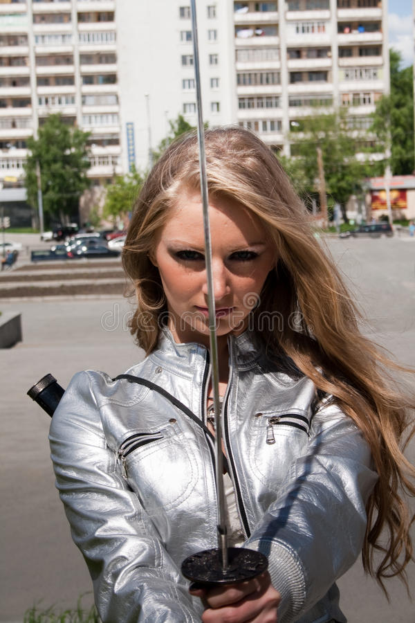 Female With Samurai Sword Royalty Free Stock Image