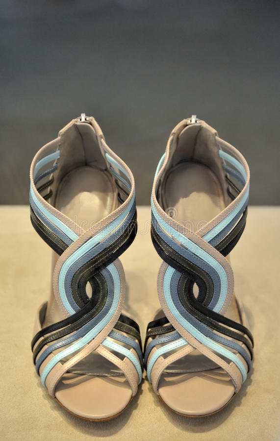 Download Female Sandals Cream And Blue Stock Image - Image: 13348017