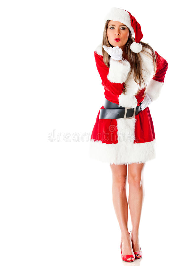 Female Santa blowing kisses