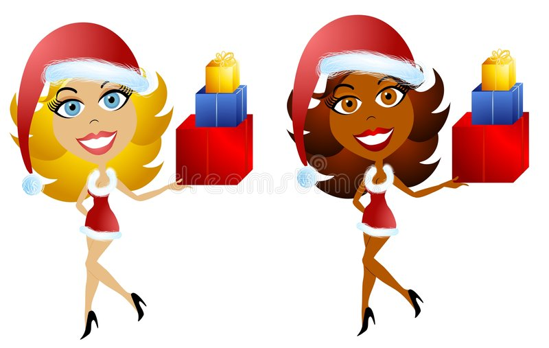 Female Santa Christmas Helpers 3. A clip art illustration of a pair of happy, smiling women wearing santa hats and short-short little red holiday dresses. Your stock illustration