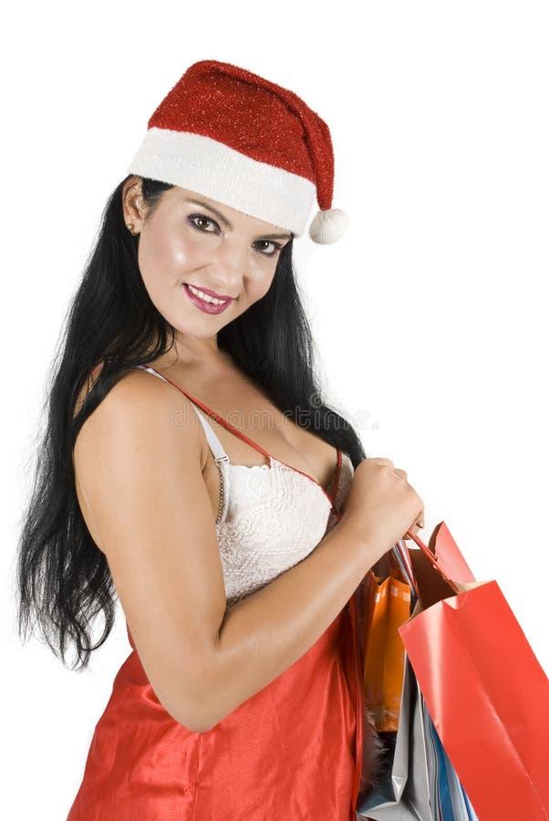 Female Santa Claus posing stock photo