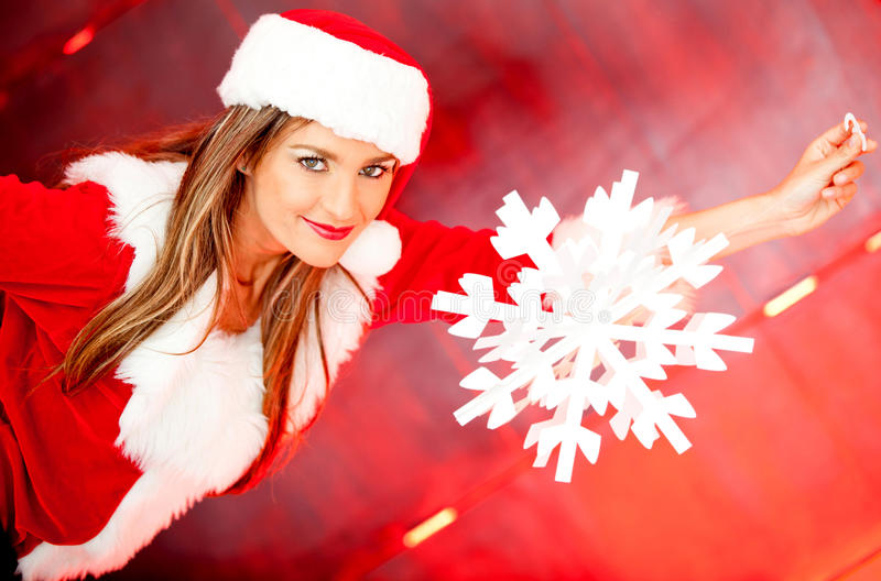 Download Female Santa With A Snowflake Stock Photo - Image: 22170098