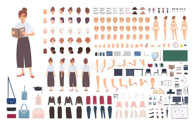 Female school teacher creation kit or DIY set. Bundle of woman`s body elements, postures, gestures, clothes isolated on. White background. Front, side and back stock illustration