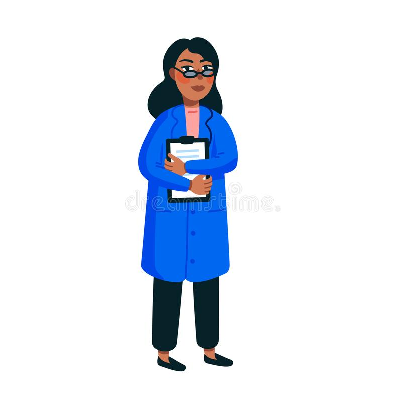 Female Scientist. Afro american woman in a blue medical gown on white background. Genome sequencing conceptof. Flat vector illustration