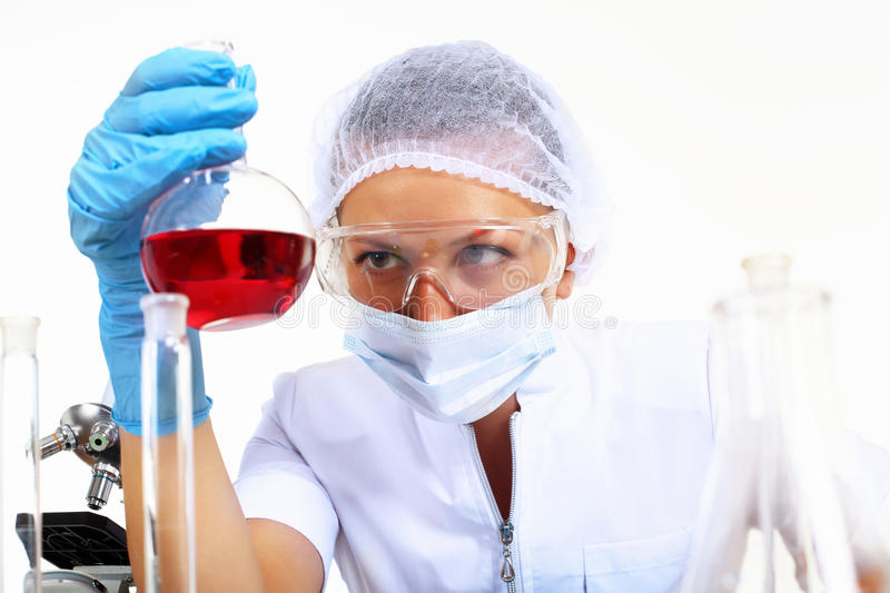 Female scientist in a chemistry laboratory stock photo