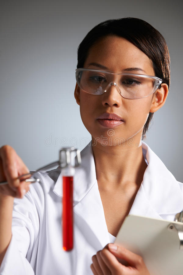 Female Scientist Examining Test Tube stock photography