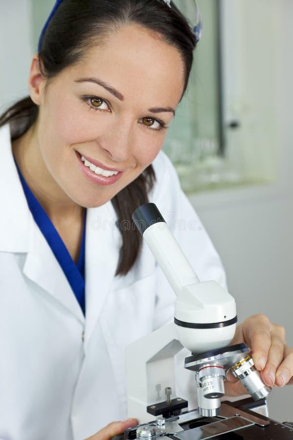 Female Scientist and Microscope in Laboratory