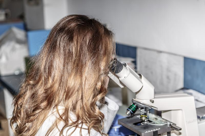 A female scientist observes something carefully under a microscope in a pharmaceutical laboratory royalty free stock photos