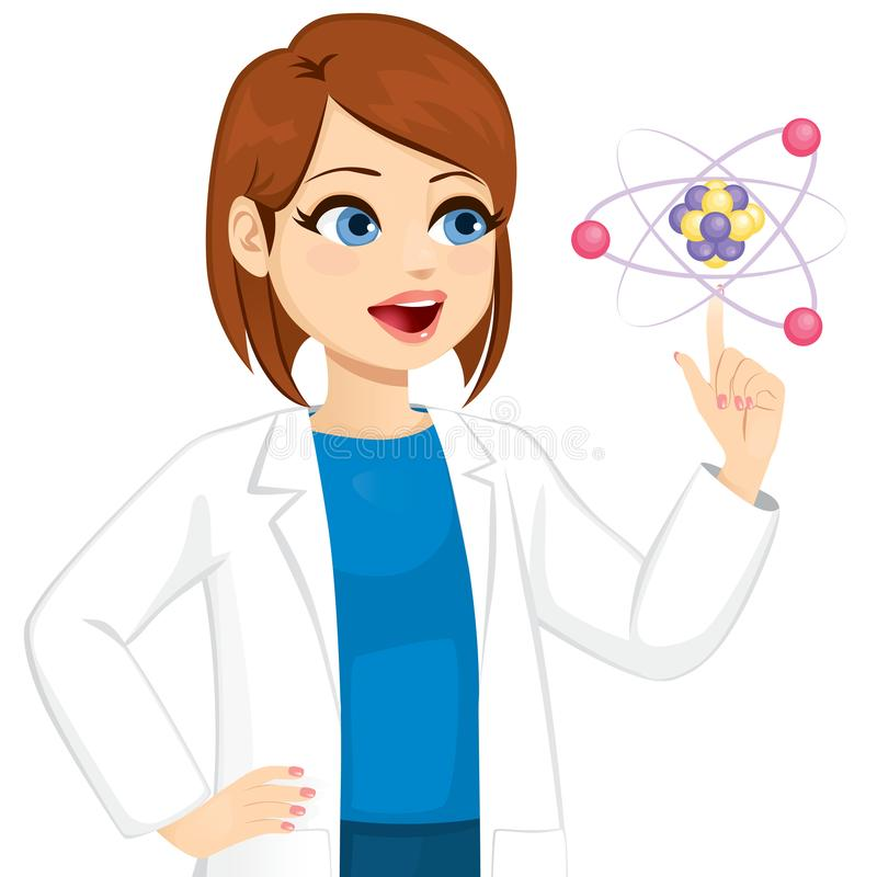 Female Scientist Touching Atom. Female scientist in awe touching atom with positive amazed face expression vector illustration