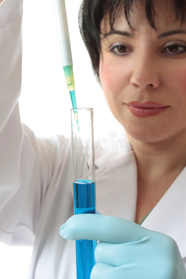 Female scientist at work stock images