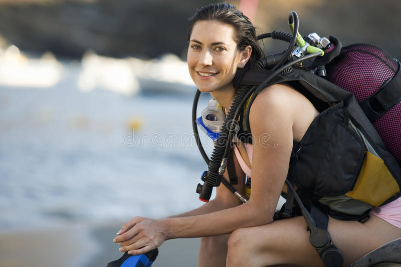 A female scuba diver royalty free stock photo