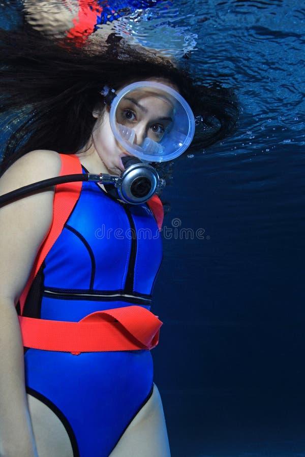 Female scuba diver stock image