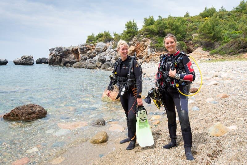 Female Scuba Divers stock photography