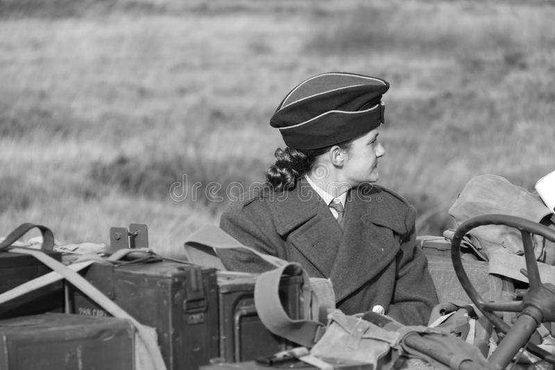 Second World War II female soldier stock photo