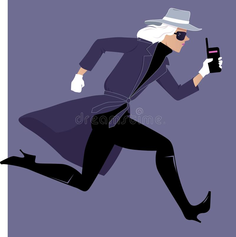 Mystery woman on case. Female secret agent running with a walkie-talkie, EPS 8 vector illustration royalty free illustration