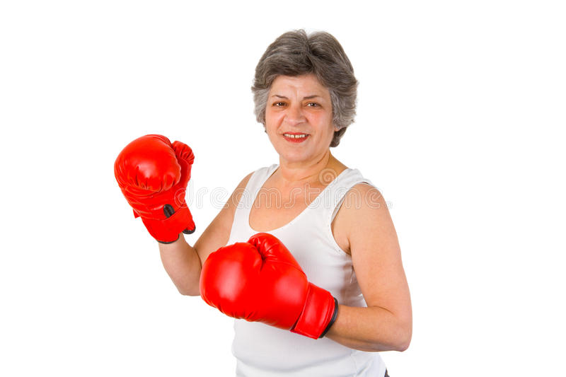 Download Female Senior With Boxing Gloves Stock Photo - Image: 24299978