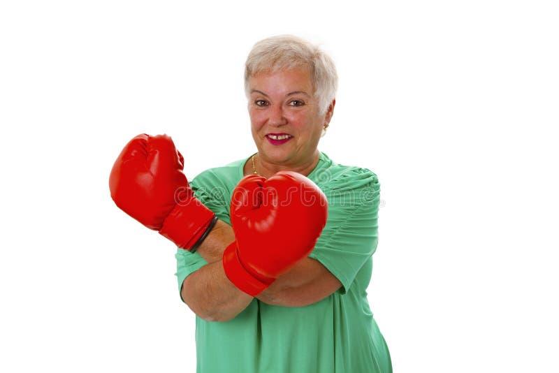 Female senior boxing royalty free stock photo