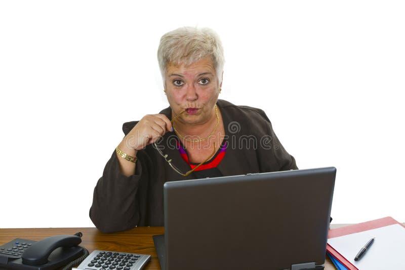 Female senior with laptop