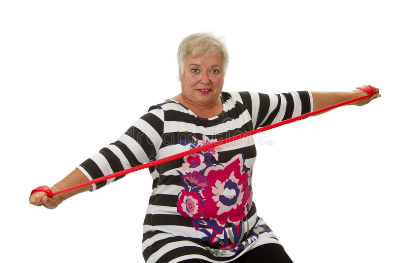 Female Senior Woman Exercises Stock Photo
